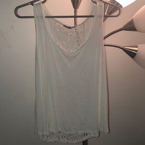 White lace back tank